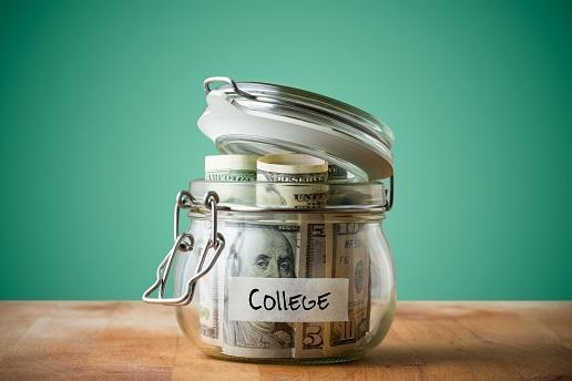Jar with money for college