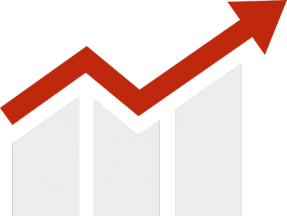 Bar graph with rising trend arrow