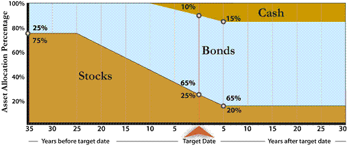 The fund in Example 2 holds 25% in stocks at the target date,  and reaches its final investment mix with 20% in stocks five years later.  The fund in Example 2 also holds cash  investments (such as money market funds) as part of its mix.